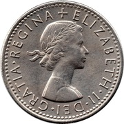 "6 Pence - Elizabeth II (1st portrait; without ""BRITT:OMN"") -  obverse"