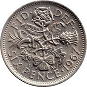 6 Pence - Elizabeth II (1st portrait; no 'BRITT:OMN') -  reverse
