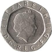 20 Pence - Elizabeth II (4th portrait; Tudor Rose) -  obverse
