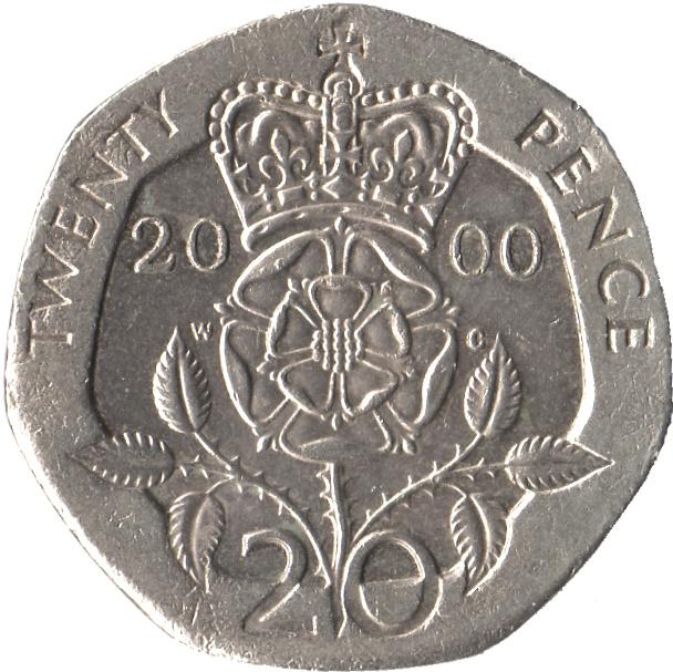 20 Pence - Elizabeth II (4th portrait; Tudor Rose) - United Kingdom – Numista