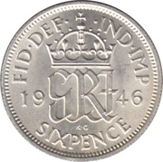6 Pence - George VI (1st coinage) -  reverse