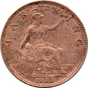 1 Farthing - George V (modified effigy) -  reverse
