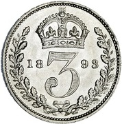 3 Pence - Victoria (3rd portrait; incl. Maundy) -  reverse