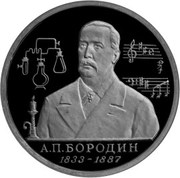 1 Ruble (The 160th Anniversary of the Birth of A.P. Borodin) – reverse
