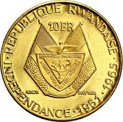 10 Francs (President Gregoire Kayibanda) – obverse