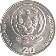20 Amafaranga (Type 2 legend) – obverse