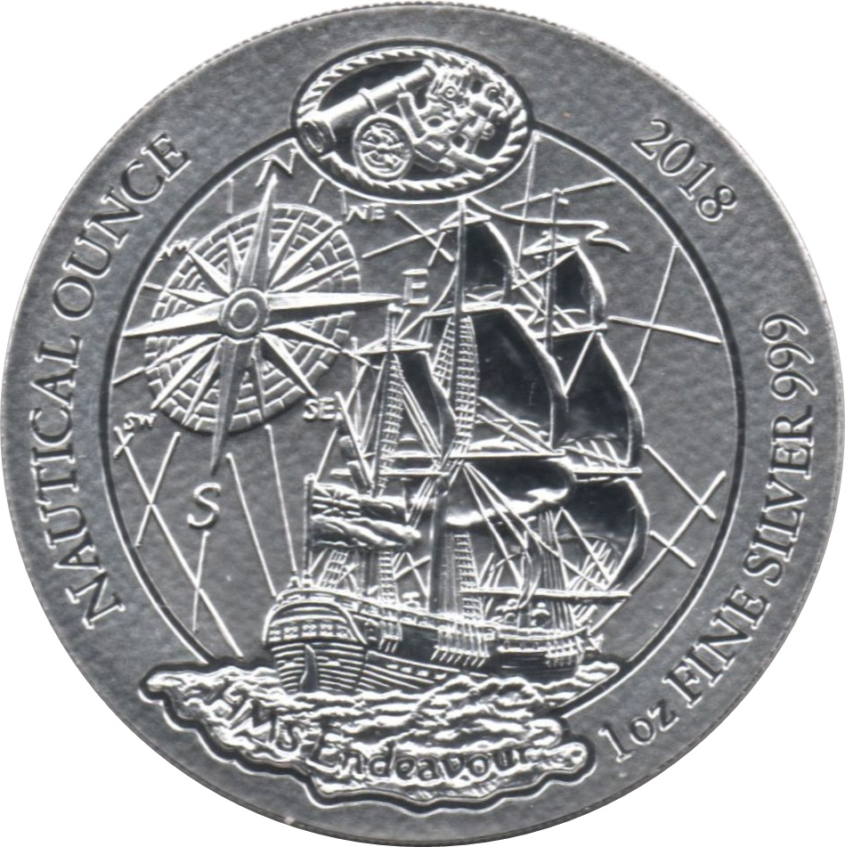 HMS Endeavour 2018 1 oz Silver UNC Nautical Ounce Rwanda