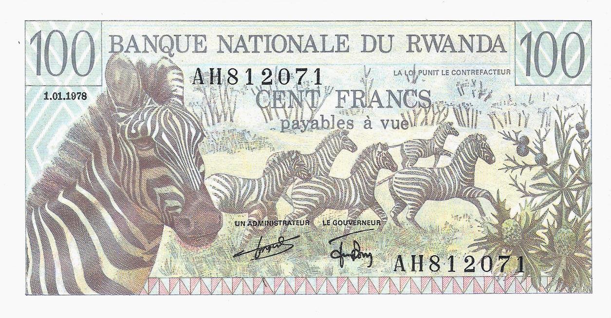Rwanda Banknote 100 Francs 1978 P12 UNC w//FDI UN FDI FLAG Prefix BY