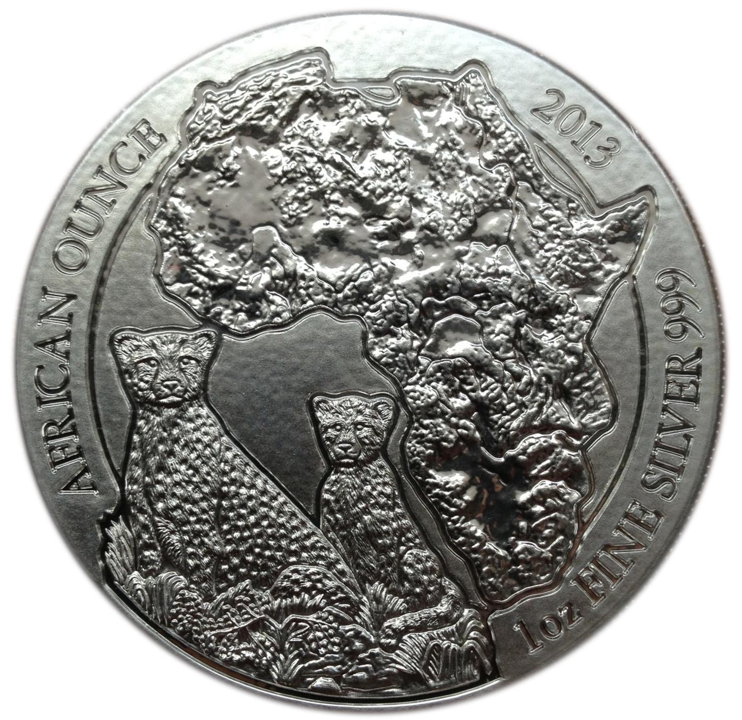 2013 Rwanda Cheetah 50 Francs 1 Oz Coin .999 Silver Map of Africa Mint Blister