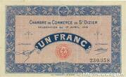 1 Franc - Chambre de Commerce de St Dizier [52] – obverse