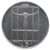 5 Lire (Threat of Nuclear War) – reverse