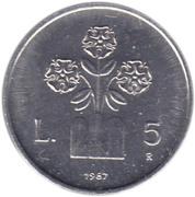 5 Lire (Montegiardino) – reverse