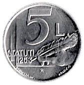 5 Lire (Statutes of Community) – reverse
