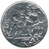 5 Lire (Marinus and Saint Leo) – reverse
