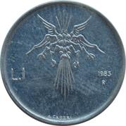 1 Lira (Threat of Nuclear War) – reverse