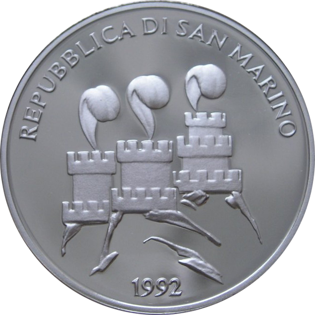 SILVER Commem BARCELONA OLYMPICS SAN MARINO 500 LIRE 1992 coin KM# 276 UNC