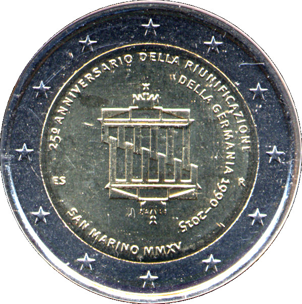 """2015 San Marino 2 euro comm coin /""""Germany Reunification/"""" new in folder//blister"""
