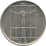 5 Lire (Threat of Nuclear War) -  obverse