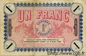 1 franc - Chambre de Commerce d'Auxerre [89] – reverse