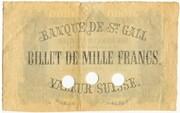 1000 Francs (Bank in St. Gallen) – reverse