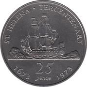 25 Pence (Tercentenary of restored British Rule) – reverse