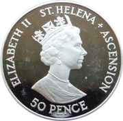 50 Pence - Elizabeth II (Royal Wedding; Silver Proof Issue) – obverse