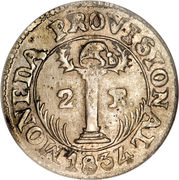 2 Reales (Provisional coinage) – reverse