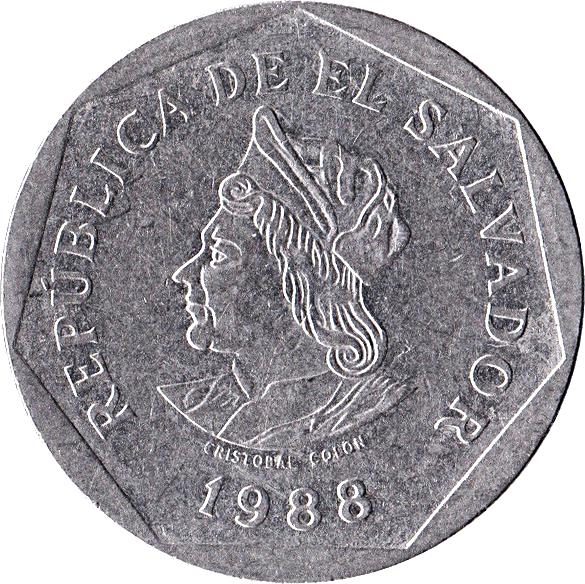 Coin UNC km156 El Salvador 1 Colón 1988
