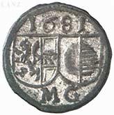 1 Pfennig - Max Gandolf von Kuenburg -  obverse