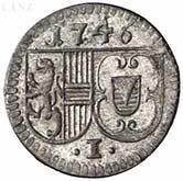 1 Pfennig - Jakob Ernst von Liechtenstein -  obverse