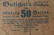 50 Heller (Salzburg, district of) – obverse