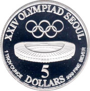 5 Dollars (XXIV Olympics) – reverse