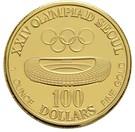 100 Dollars (XXIV Olympics) – reverse