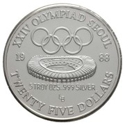 25 Dollars (Governor Lutali - XXIV Olympics, denomination in letters) -  reverse