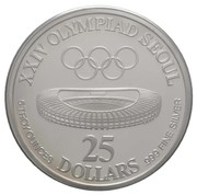 25 Dollars (Governor Lutali - XXIV Olympics, denomination in numbers) – reverse