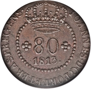 80 Reis - Joao Prince Regent (Rio de Janeiro mint) – obverse