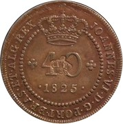 "40 Réis - Pedro V  (Countermarked with ""Small Crown"") – obverse"