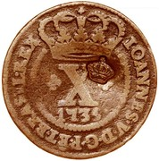 """X Réis - Pedro V (Countermark """"Small Crown"""" over X reis, Portugal and Brazil) – obverse"""