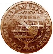 """X Réis - Pedro V (Countermark """"Small Crown"""" over X reis, Portugal and Brazil) – reverse"""