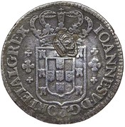 "6 Vinténs - Pedro V (Countermark ""Small Crown"" over 6 Vinténs, Portugal) – obverse"