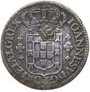 "6 Vinténs - Pedro V (Countermark ""Small Crown"" over 6 Vinténs, Portugal) – obverse"