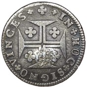 "6 Vinténs - Pedro V (Countermark ""Small Crown"" over 6 Vinténs, Portugal) – reverse"