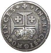 "6 Vinténs - Pedro V (Countermark ""Small Crown"" over 6 Vinténs, Portugal) – reverse"
