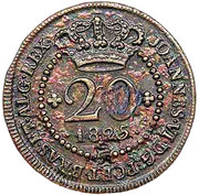 "20 Réis - Pedro V  (Countermarked with ""Small Crown"") – obverse"