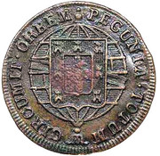 "20 Réis - Pedro V  (Countermarked with ""Small Crown"") – reverse"