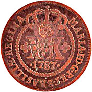 "XX Réis - Pedro V (Countermarked with ""Small Crown) – obverse"