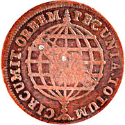 "XX Réis - Pedro V (Countermarked with ""Small Crown) – reverse"