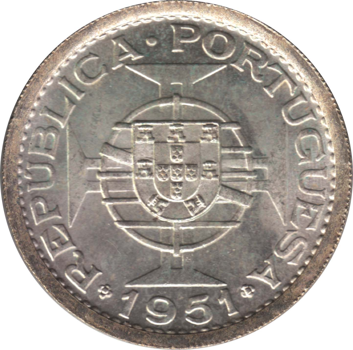 St Thomas /& Prince 1951 10 Escudos Silver Coin KM #14 Choice-Gem BU