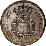 40 Réis - Pedro V (Countermarked over Pataco - João VI; Portugal) – reverse