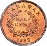 ½ Cent - Charles V. Brooke Rajah – reverse